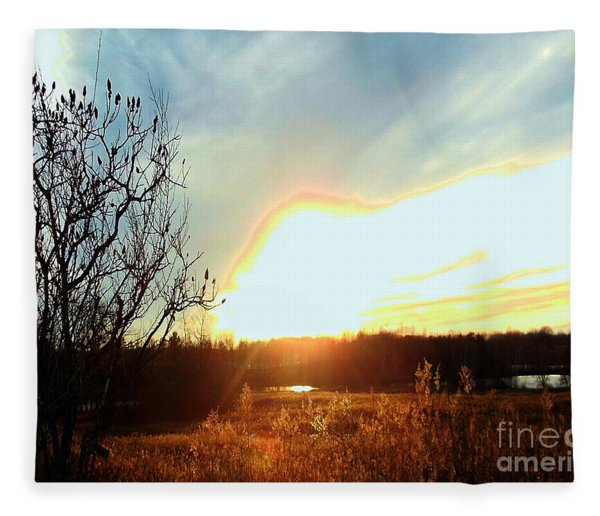 Sunset Over Fields Fleece Blanket