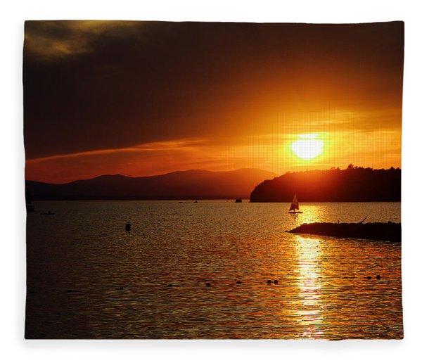 Sunset Over Lake Champlain Fleece Blanket