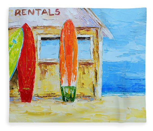 Surf Board Rental Shack At The Beach - Modern Impressionist Palette Knife Work Fleece Blanket
