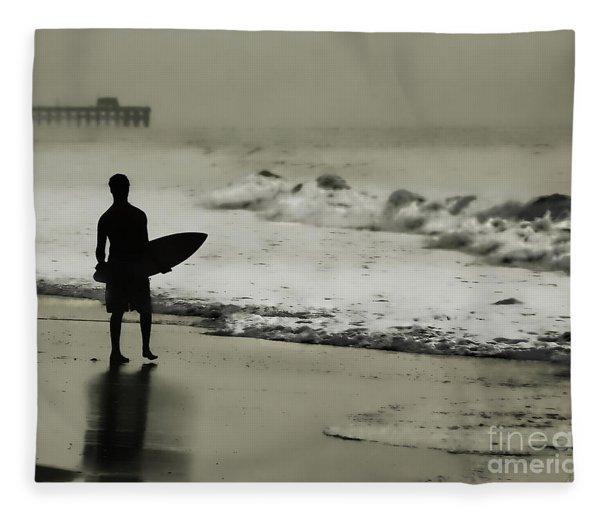 Surfer Silhouette Fleece Blanket