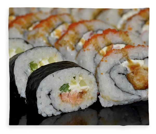 Fleece Blanket featuring the photograph Sushi Rolls From Home by Carolyn Marshall