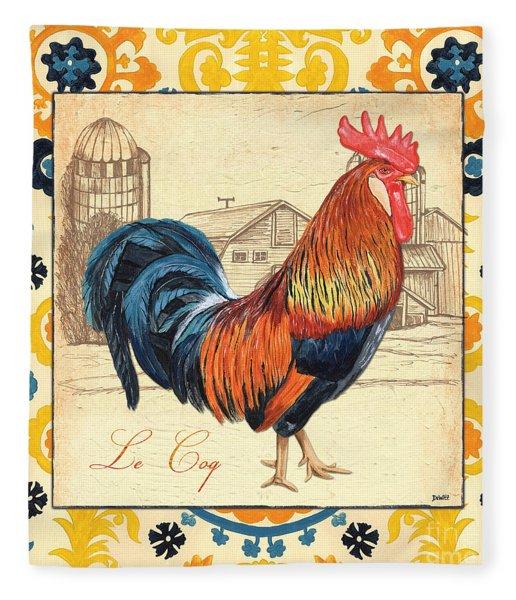 Suzani Rooster 2 Fleece Blanket