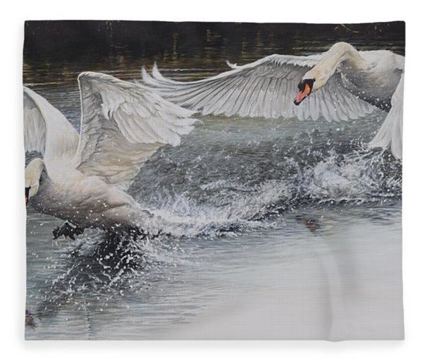 Fleece Blanket featuring the painting Swans In Dispute by Alan M Hunt