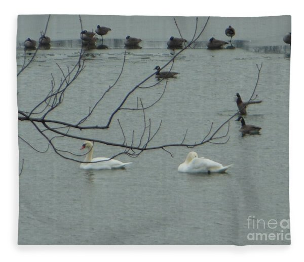 Swans With Geese Fleece Blanket