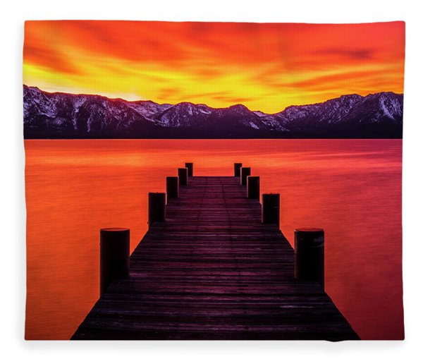 Tahoe Ablaze By Brad Scott Fleece Blanket