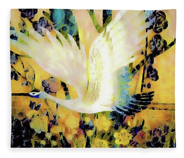 Fleece Blanket featuring the mixed media Taking Wing Above The Garden - Kimono Series by Susan Maxwell Schmidt