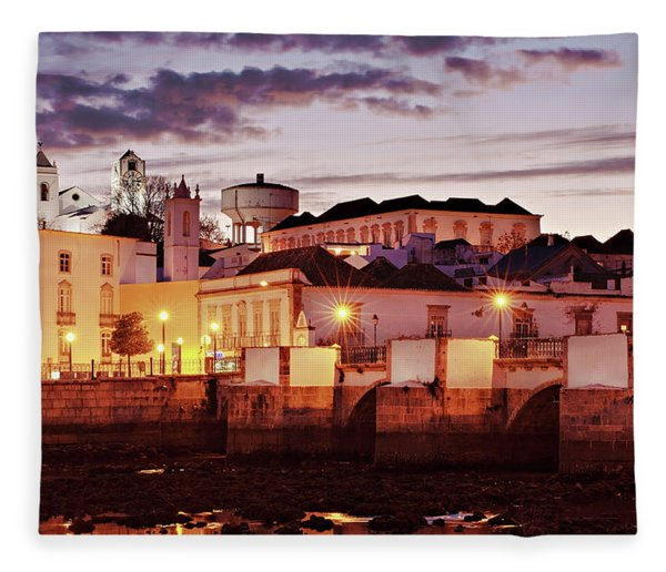 Fleece Blanket featuring the photograph Tavira At Dusk - Portugal by Barry O Carroll