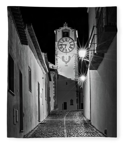 Fleece Blanket featuring the photograph Tavira Church Bell Tower At Night - Portugal by Barry O Carroll