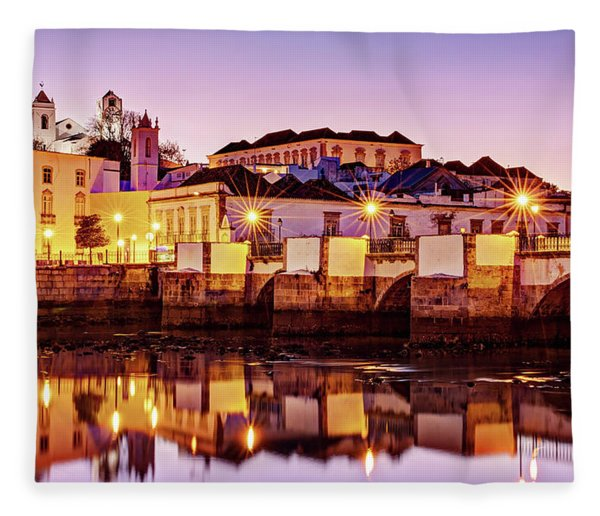 Fleece Blanket featuring the photograph Tavira Reflections - Portugal by Barry O Carroll