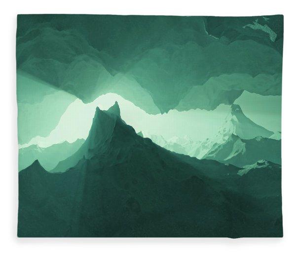 Fleece Blanket featuring the digital art Teal Surreal by Matt Lindley