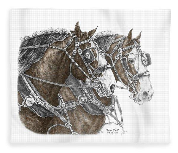 Team Work - Clydesdale Draft Horse Print Color Tinted Fleece Blanket