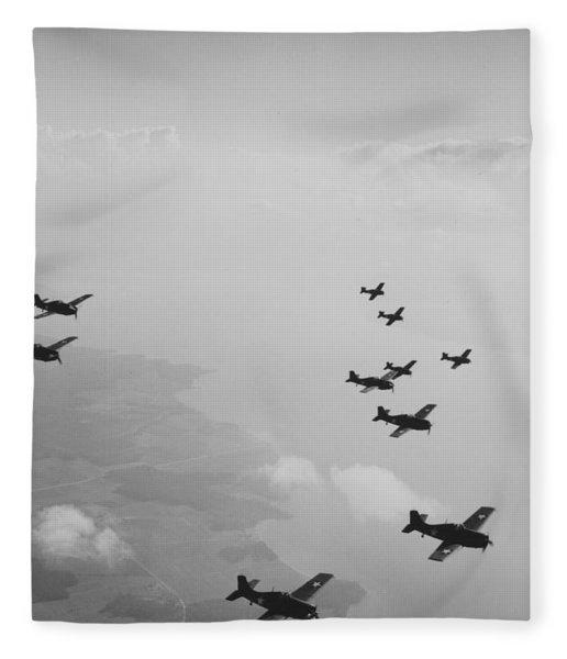 Ten Wildcats In Flight Over The Coast  Fleece Blanket