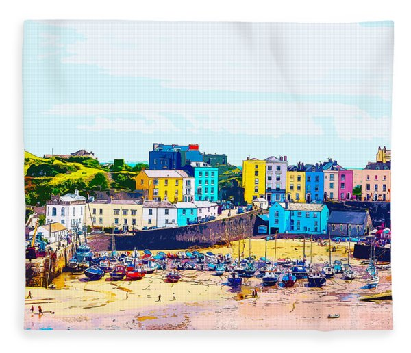 Tenby Harbour Fleece Blanket