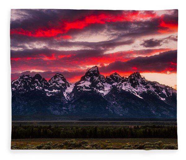 Teton Sunset Fleece Blanket