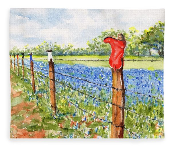 Texas Bluebonnets Boot Fence Fleece Blanket