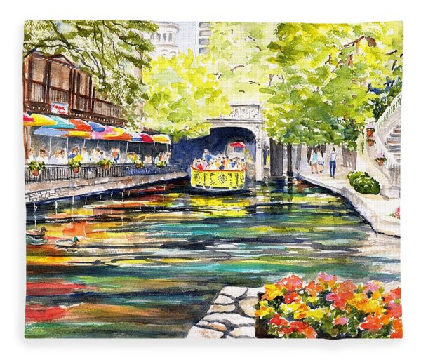 Texas San Antonio River Walk Fleece Blanket