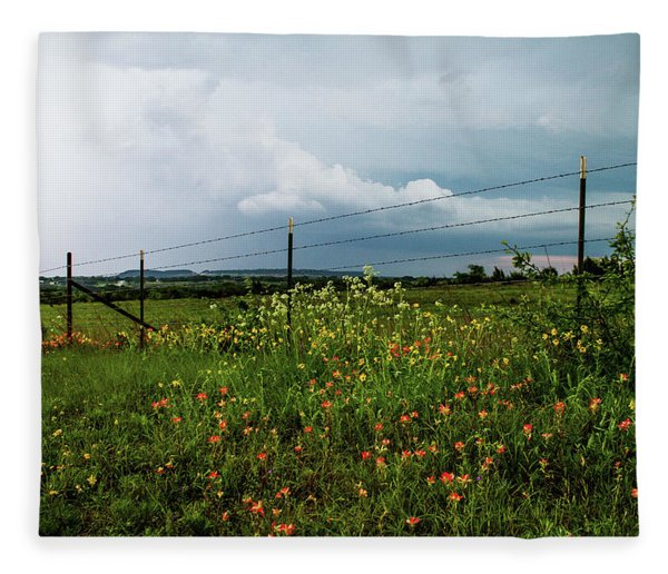 Texas Wildflowers - Vintage Style Photograph Of Central Texas Landscape Fleece Blanket