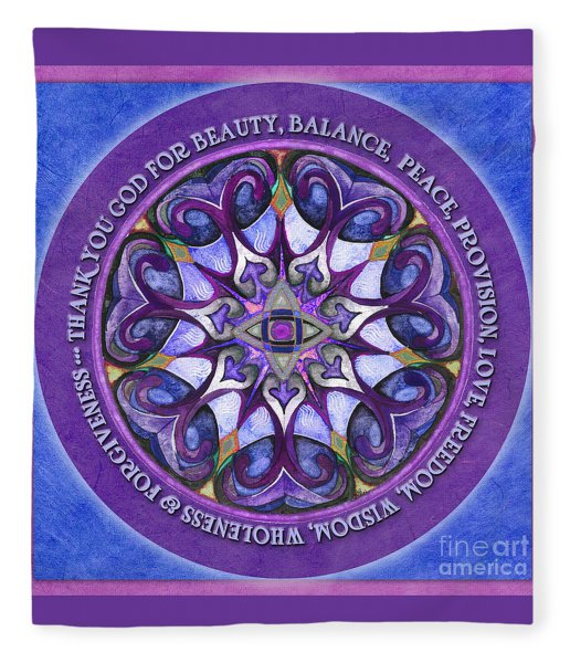 Thank You God Mandala Prayer Fleece Blanket