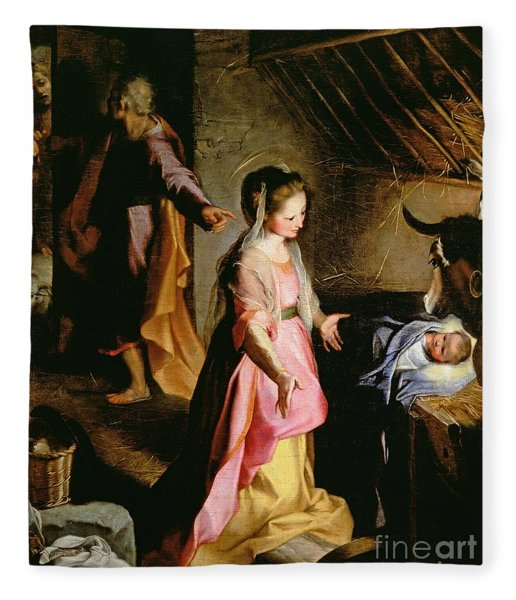 The Adoration Of The Child Fleece Blanket