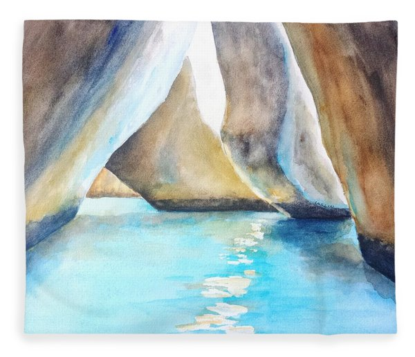 The Baths Water Cave Path Fleece Blanket