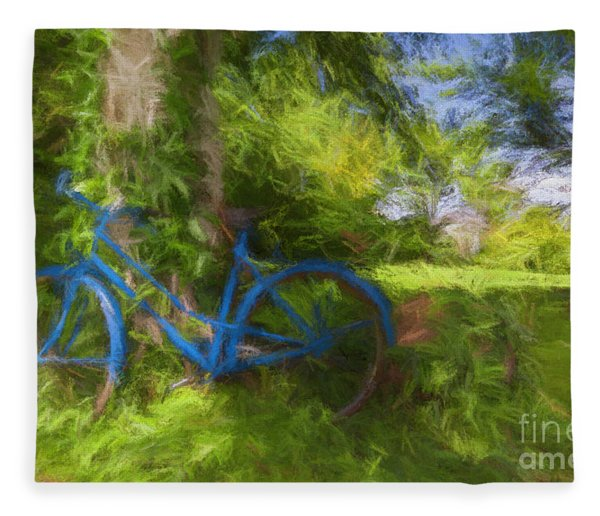 The Blue Bicycle Fleece Blanket