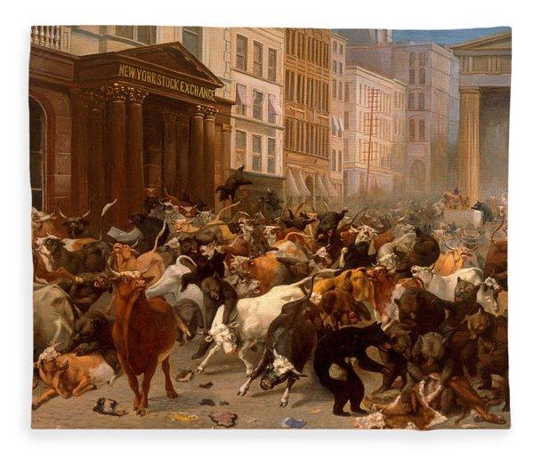 The Bulls And Bears In The Market Fleece Blanket
