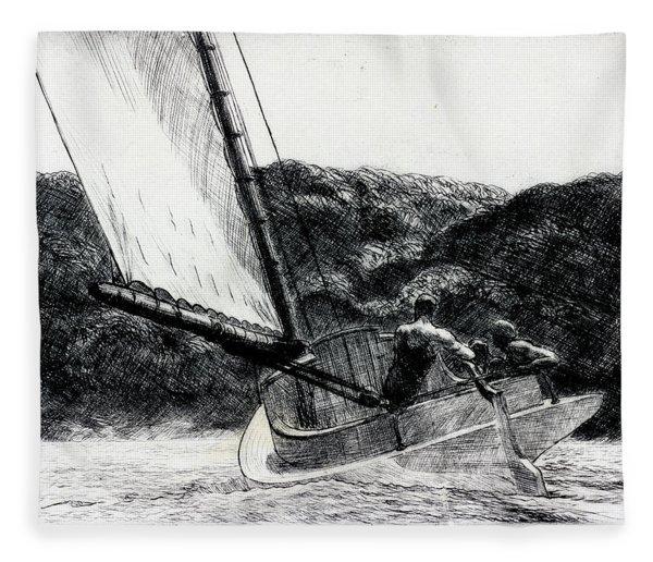 The Cat Boat Fleece Blanket