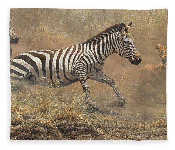 Fleece Blanket featuring the painting The Chase by Alan M Hunt