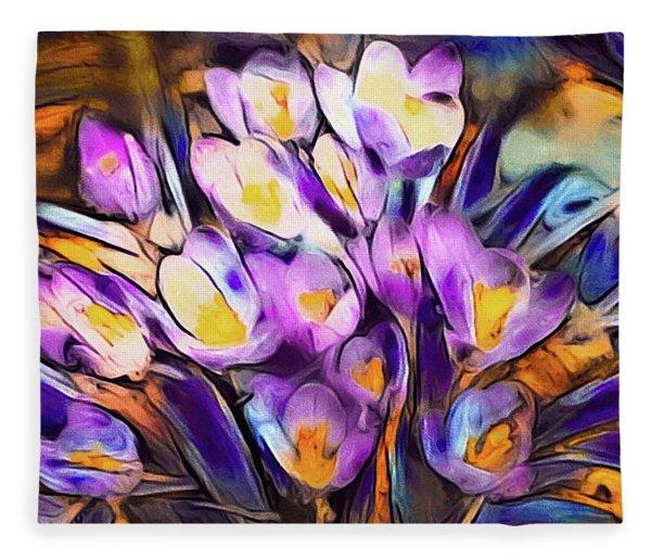 Fleece Blanket featuring the mixed media The Colors Of Crocus by Susan Maxwell Schmidt