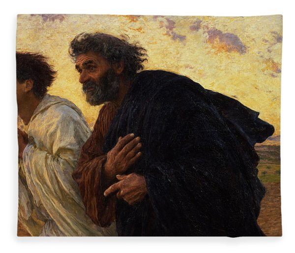 The Disciples Peter And John Running To The Sepulchre On The Morning Of The Resurrection Fleece Blanket
