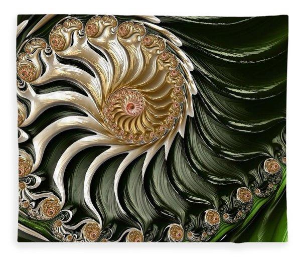 Fleece Blanket featuring the digital art The Emerald Queen's Nautilus by Susan Maxwell Schmidt