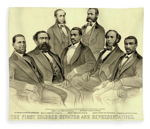 The First African American Senator And Representatives Fleece Blanket