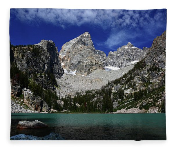 Fleece Blanket featuring the photograph The Grand And Mount Owen From Delta Lake by Raymond Salani III