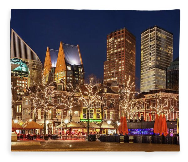 Fleece Blanket featuring the photograph The Hague Skyline From The Plein by Barry O Carroll