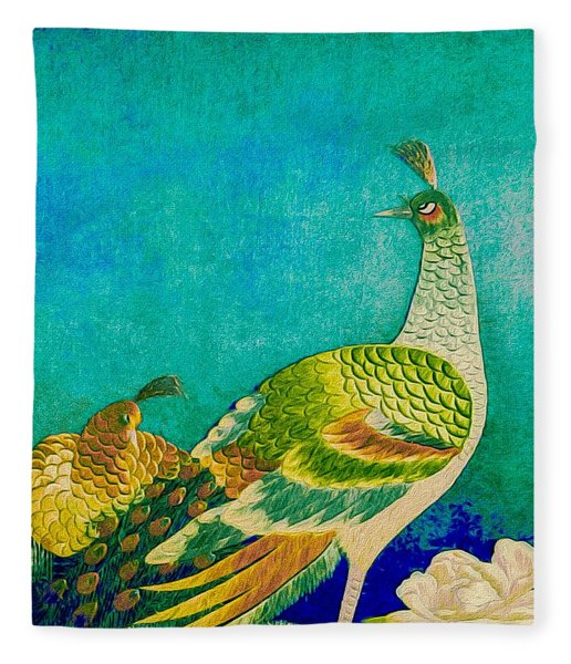 Fleece Blanket featuring the tapestry - textile The Handsome Peacock - Kimono Series by Susan Maxwell Schmidt