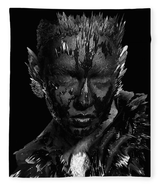 Fleece Blanket featuring the digital art The Inner Demons Coming Out by ISAW Company
