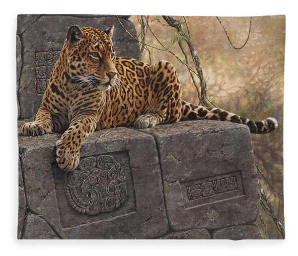 Fleece Blanket featuring the painting The Jaguar King by Alan M Hunt