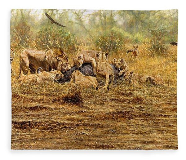 Fleece Blanket featuring the painting The Kill by Alan M Hunt
