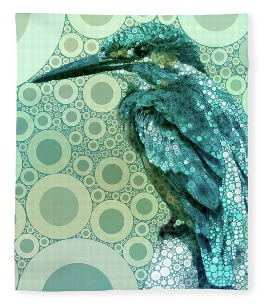 Fleece Blanket featuring the mixed media The Kingfisher by Susan Maxwell Schmidt
