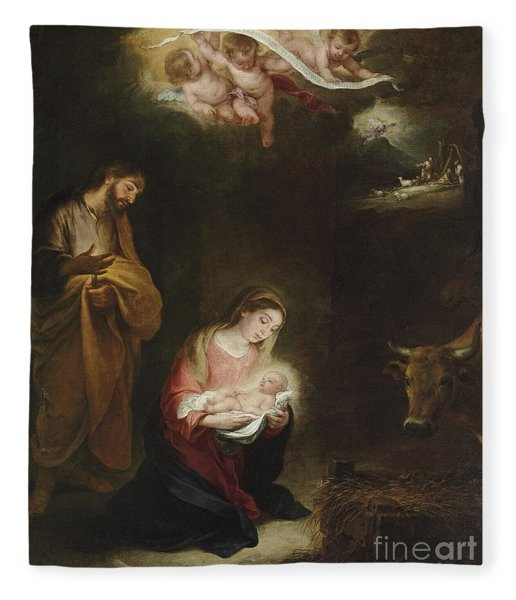 The Nativity With The Annunciation To The Shepherds Beyond Fleece Blanket