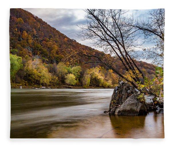 The Shenandoah In Autumn Fleece Blanket