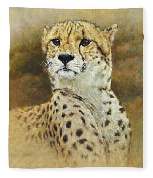 Fleece Blanket featuring the painting The Prince - Cheetah by Alan M Hunt