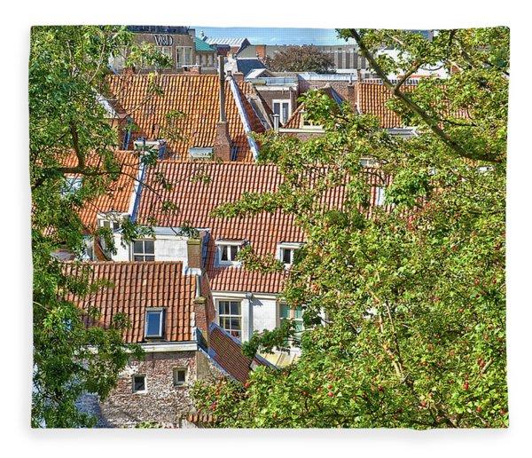 The Rooftops Of Leiden Fleece Blanket