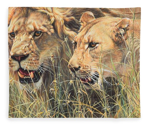Fleece Blanket featuring the painting The Royal Couple II by Alan M Hunt