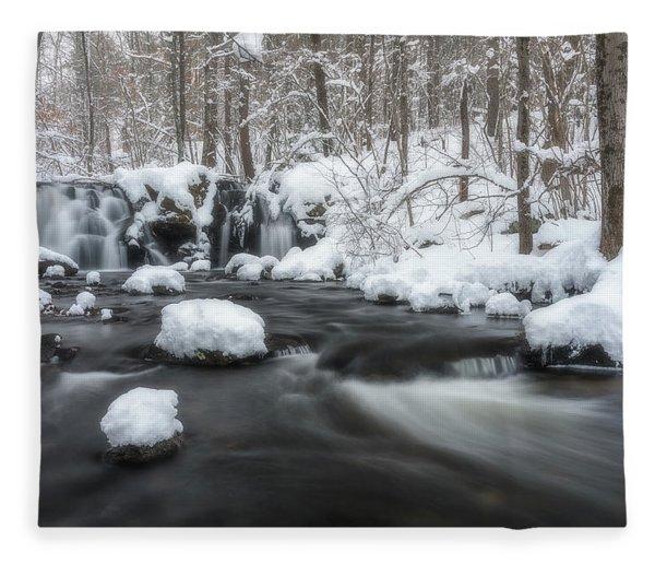 The Secret Waterfall In Winter 2 Fleece Blanket