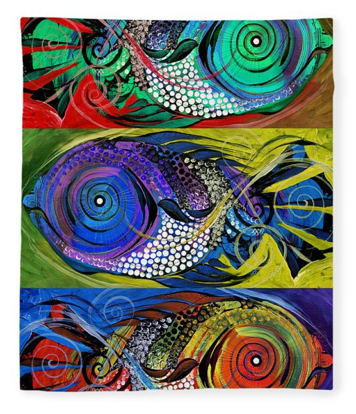 The Three Fishes Fleece Blanket