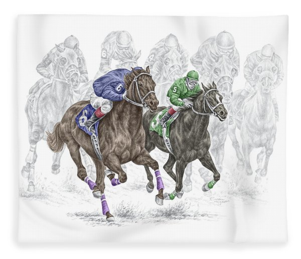 The Thunder Of Hooves - Horse Racing Print Color Fleece Blanket