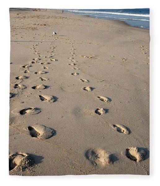 The Trails Of Footprints - Jersey Shore Fleece Blanket