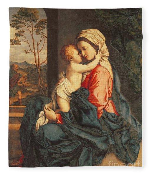 The Virgin And Child Embracing Fleece Blanket