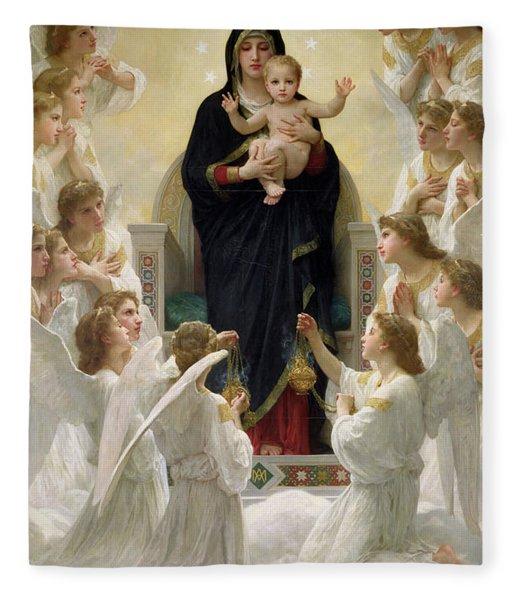 The Virgin With Angels Fleece Blanket